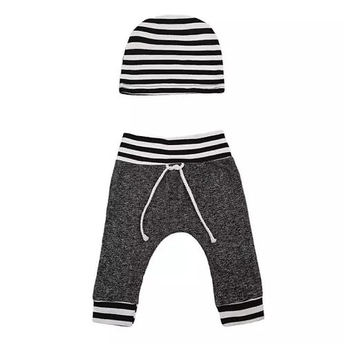 Striped pants and beanie set