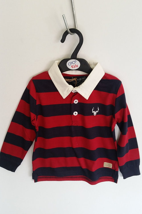 Striped Rugby Top - Red