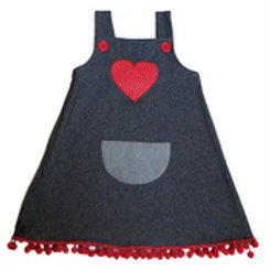 Denim Pinafore with Love Heart