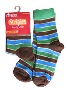 Brown, Blue and Green Striped Socks