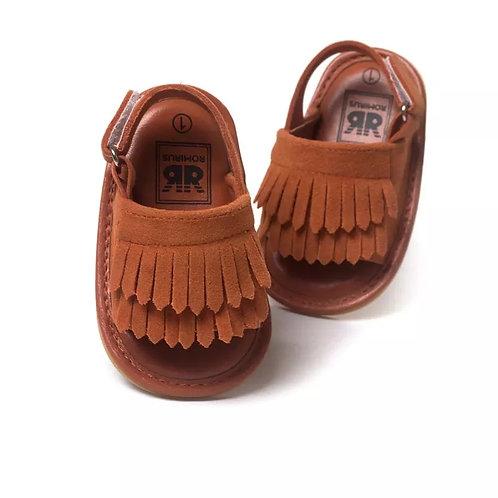 Tan Tassel Sandals