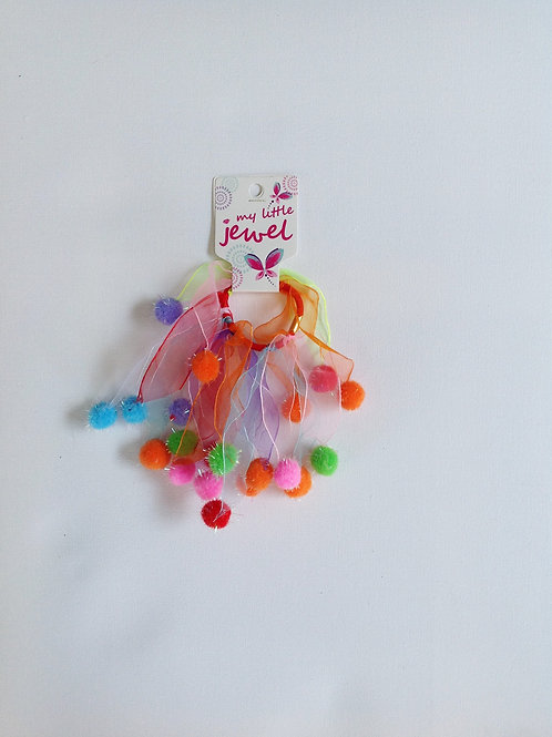 Rainbow Elastic Windmill with Pom Poms