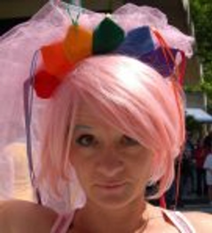 Okay, this is a wig, at the Pride parade, but still....