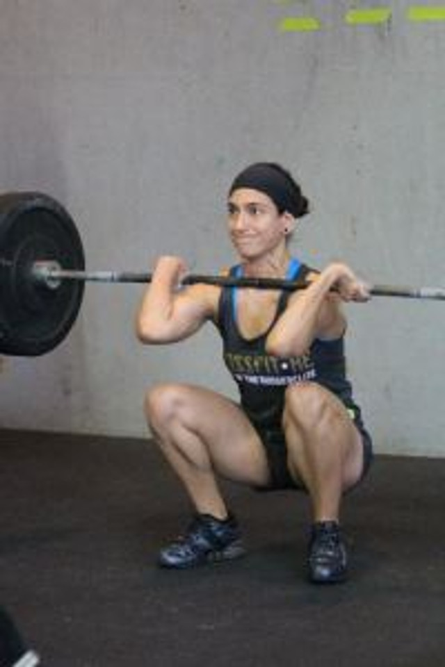 Becky Jo, a trainer at CrossFit RE, in her first comp. Yes, she was nervous. Even trainers get nervous.