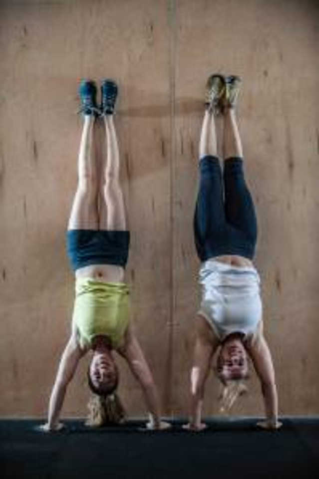 Celia and I messing around in the gym. Photo by Tim Aguero.