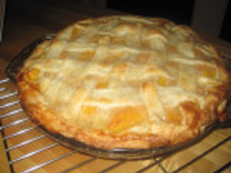 Caramel Ginger Peach Pie