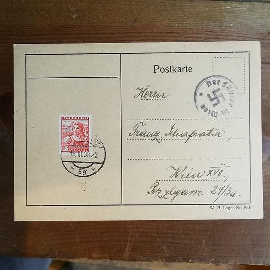 1938 Hitler Gamalı Haç Damgalı Postadan Geçmiş