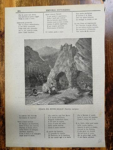 Balkan Dağı Yolu / Strada Sull Monte Balkan gravür