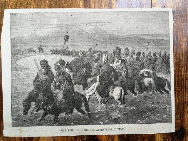 Bir Kürt Aşireti/ Una Tribu di Kurdi che attraversa il tigri gravür