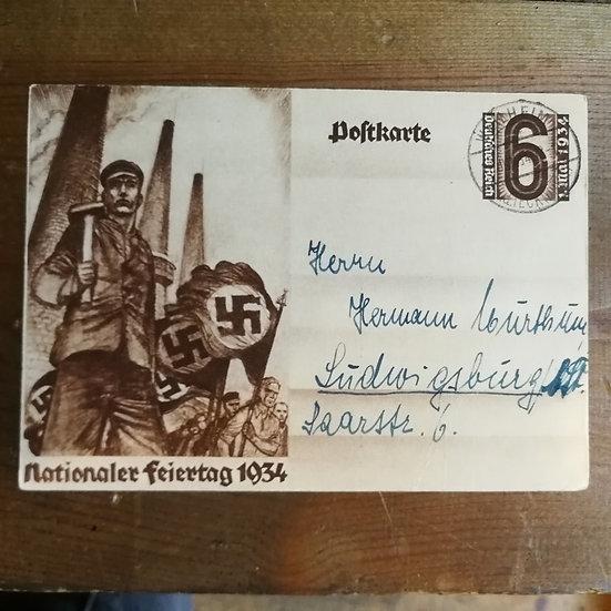 1934 Gamalı Haç Damgalı 3. Reich Antiye
