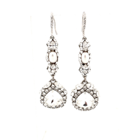 Long Pearl and Crystal Earring