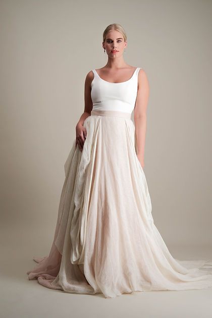 Kensington Skirt draped linen ball gown