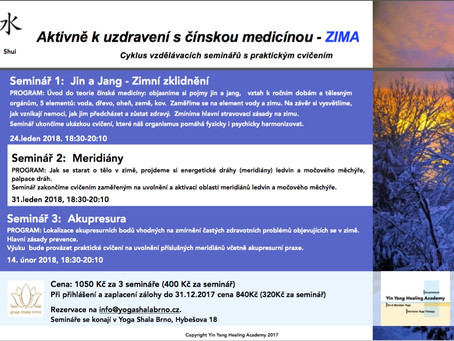 Nové semináře z cyklu Aktivně k uzdravení s čínskou medicínou - ZIMA