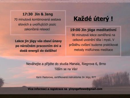 Podvečerní setkání s jin jógou v Brně