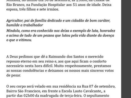 """Nota de pesar pelo falecimento de Raimundo dos Santos Souza """"Mindola"""""""