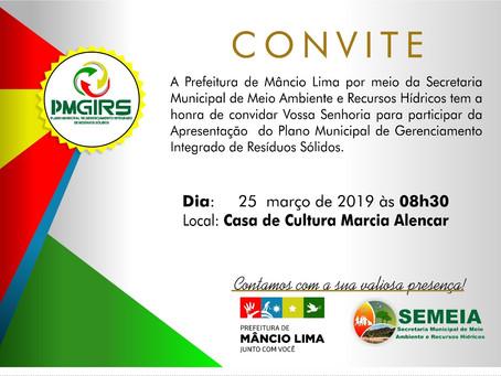 Convite: Apresentação do Plano Municipal de Gerenciamento Integrado de Resíduos