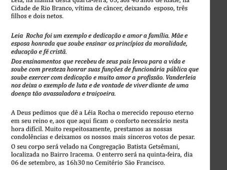 Nota de Pesar pelo falecimento da Vanderleia Rocha de Lima