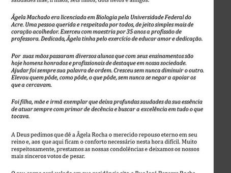 Nota de pesar pelo falecimento da professora Ângela de Machado da Rocha