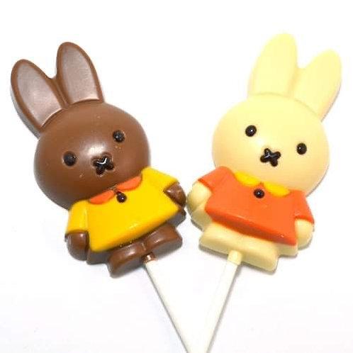Lolly Nijntje melkchocolade of witte chocolade