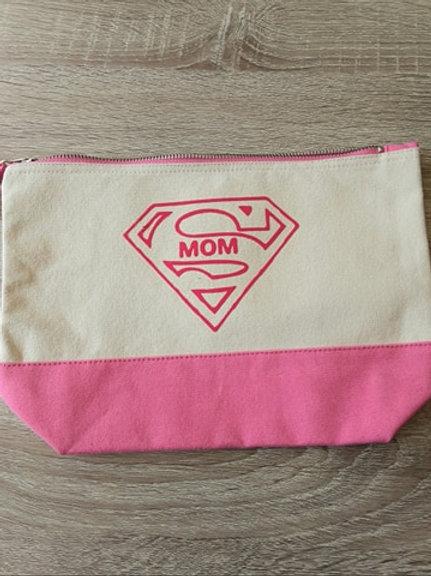Toilettas... ecru roze opdruk Mom