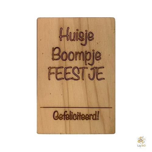 Houten kaart Huisje boompje...