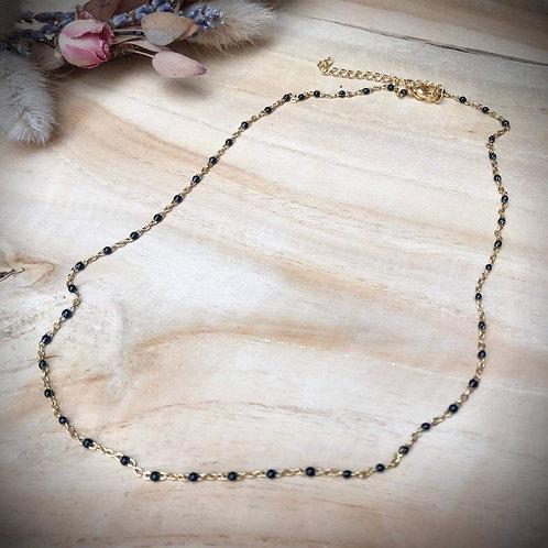 Fijne halsketting kraaltjes zwart goud