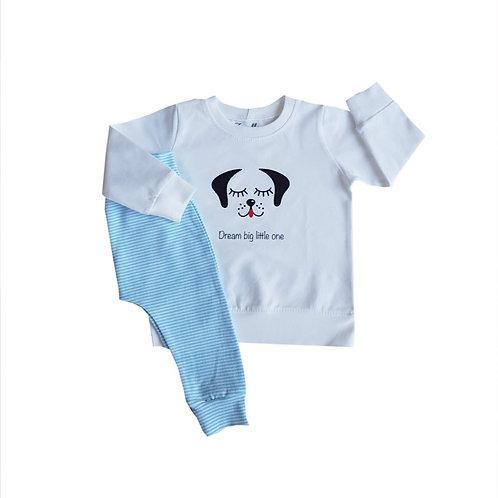 Pyjama blauw hondje maat 74 tot 86