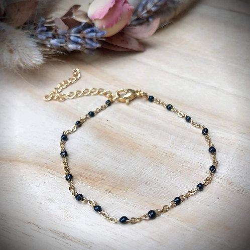 Fijne armband kraaltjes zwart goud