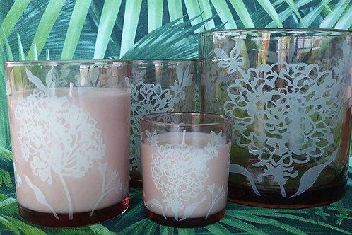 Geurkaars roze glas oudh