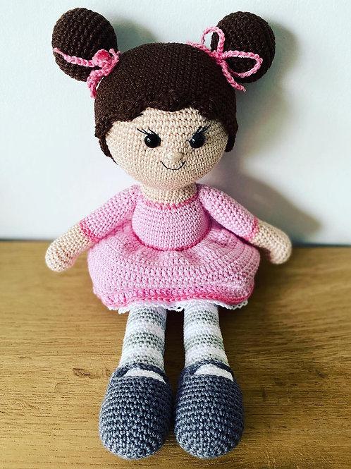 Meisje gehaakt roze jurkje