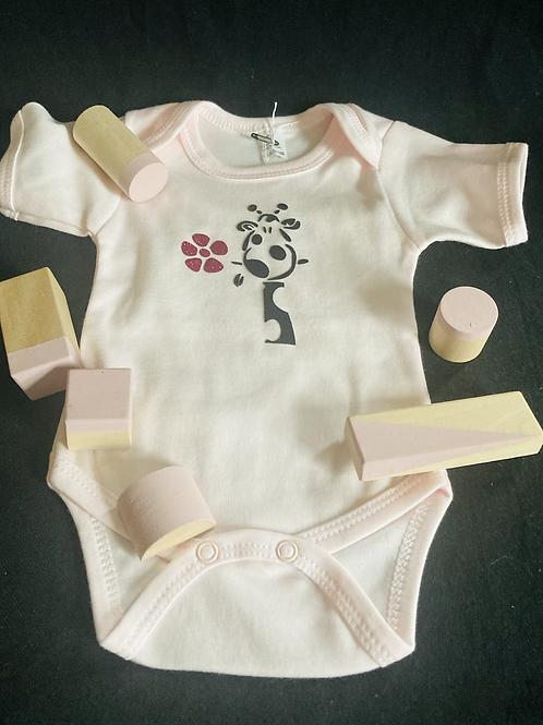 Rompertje, body giraf roze