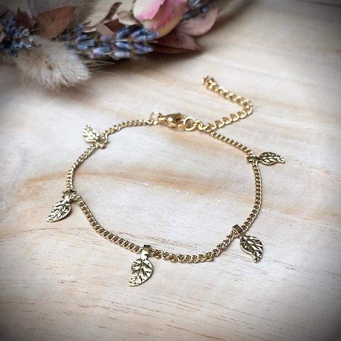 Fijne armband goud veertjes