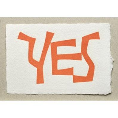 Handgeschepte wenskaart Yes