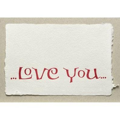 Handgeschepte wenskaart Love you