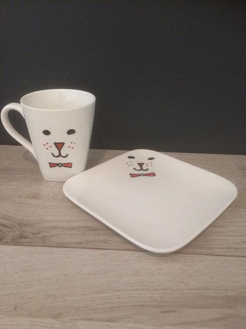 Koffietas met onderbord beer