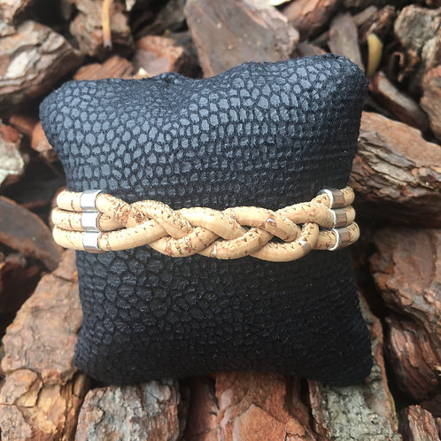 Armband kurkleer 3 dubbel