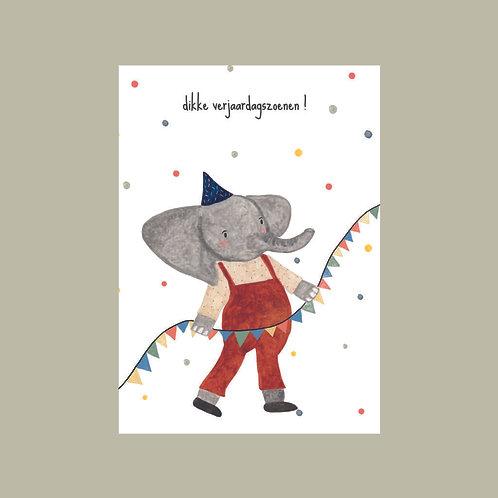 Postkaart dikke verjaardagszoenen
