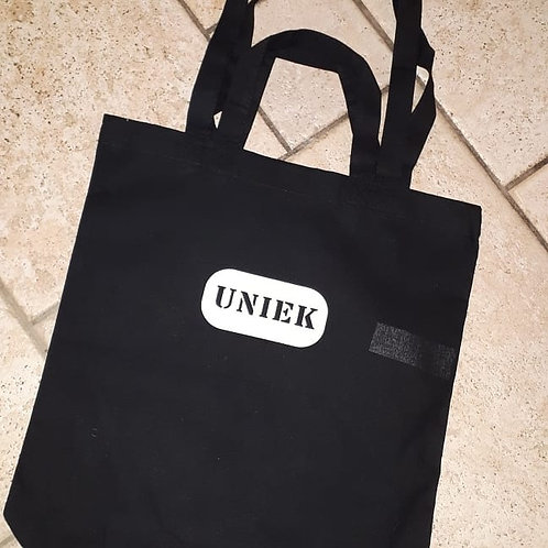 Shoppingtas zwart opdruk Uniek