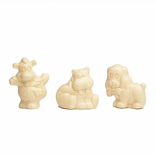 Hond, nijlpaard of draakje in  witte chocolade