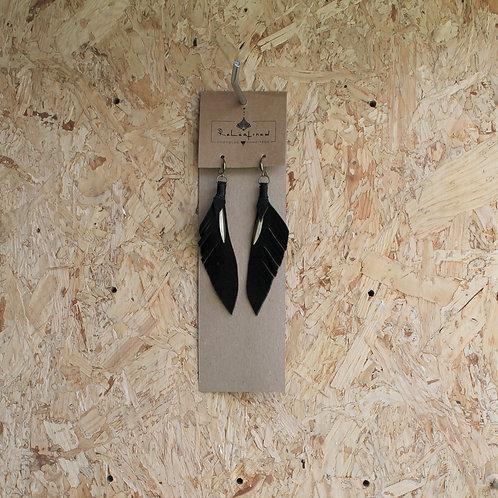 oorringen in leder zwart 12 cm