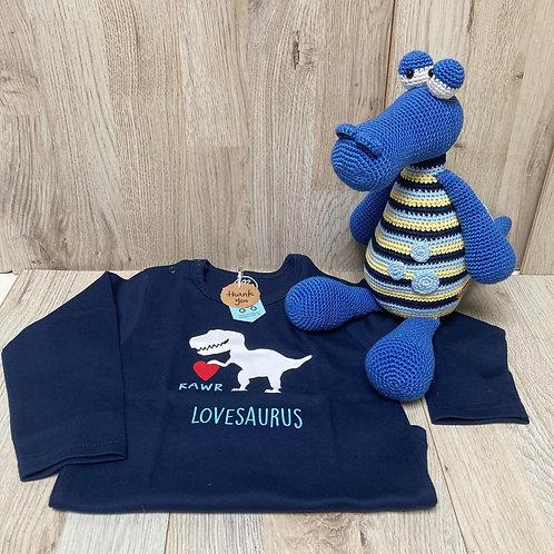 T shirt donker blauw dino met lange mouw