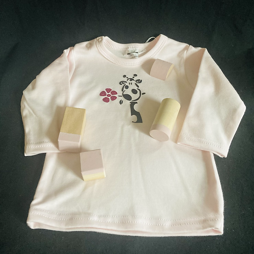 T-shirt met lange mouw giraf roze