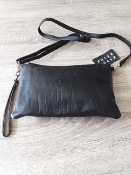 Zwarte handtas met lange en korte riem