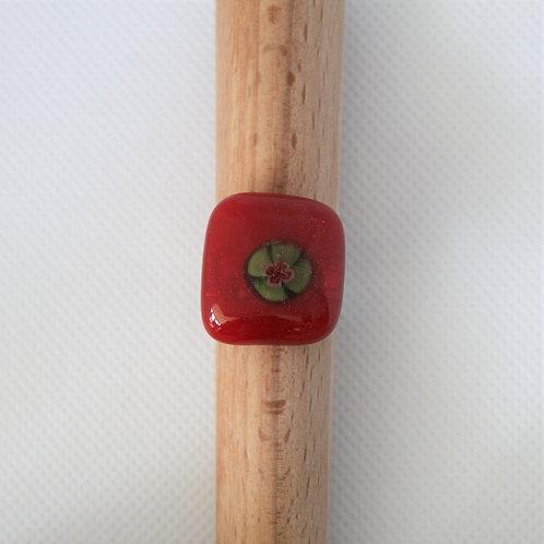 Ring rood glas met millefiori