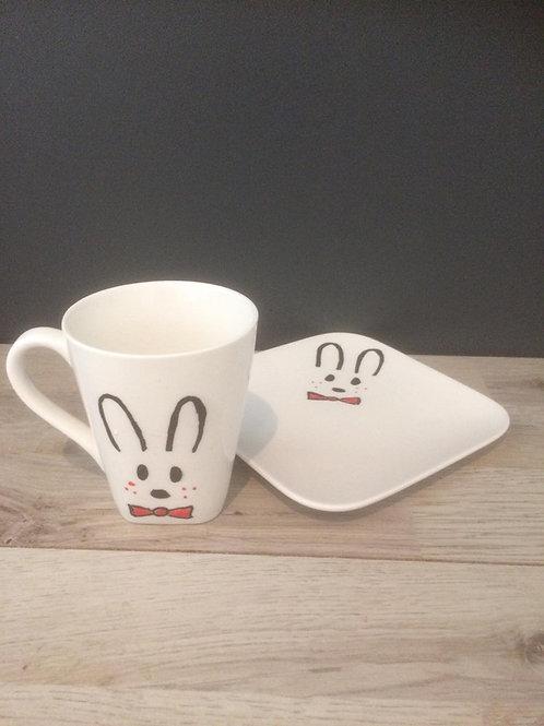 Koffietas met onderbord konijn