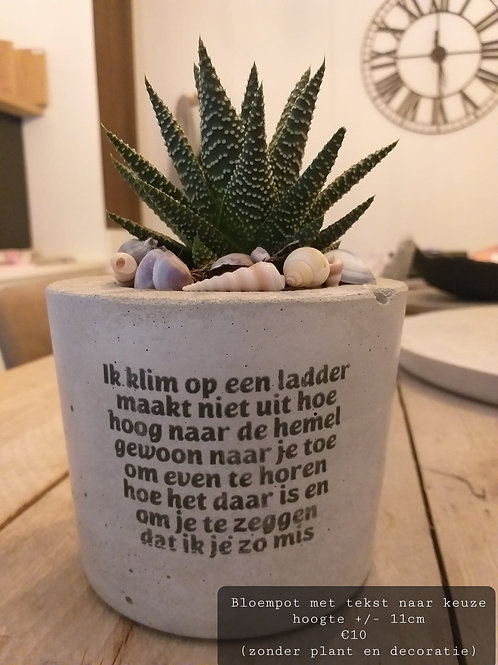 Bloempot met tekst naar keuze zonder plant