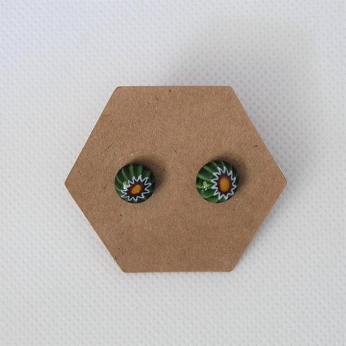 oorringen groen glas millefiori