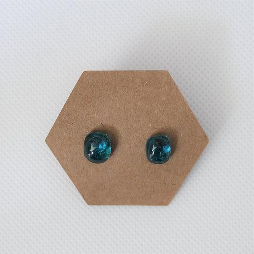 Oorringen blauw glas