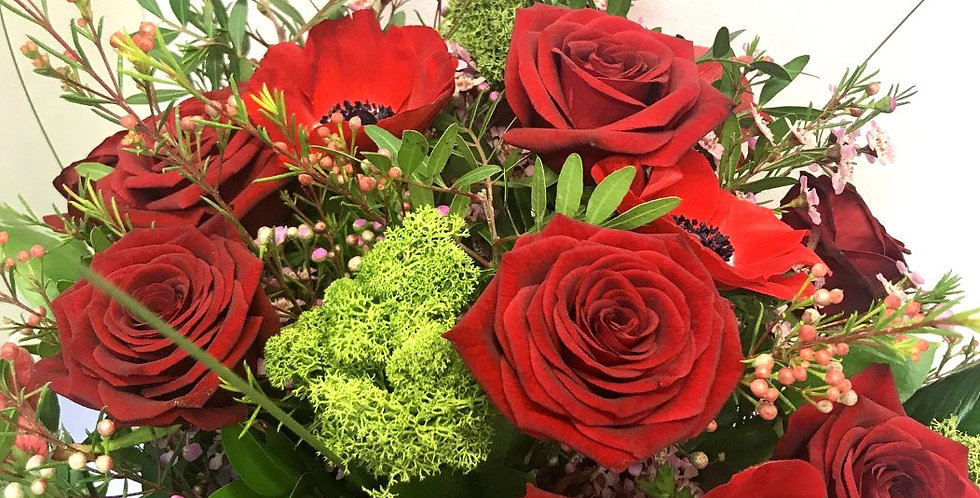 Red Rose and Anemone Bouquet
