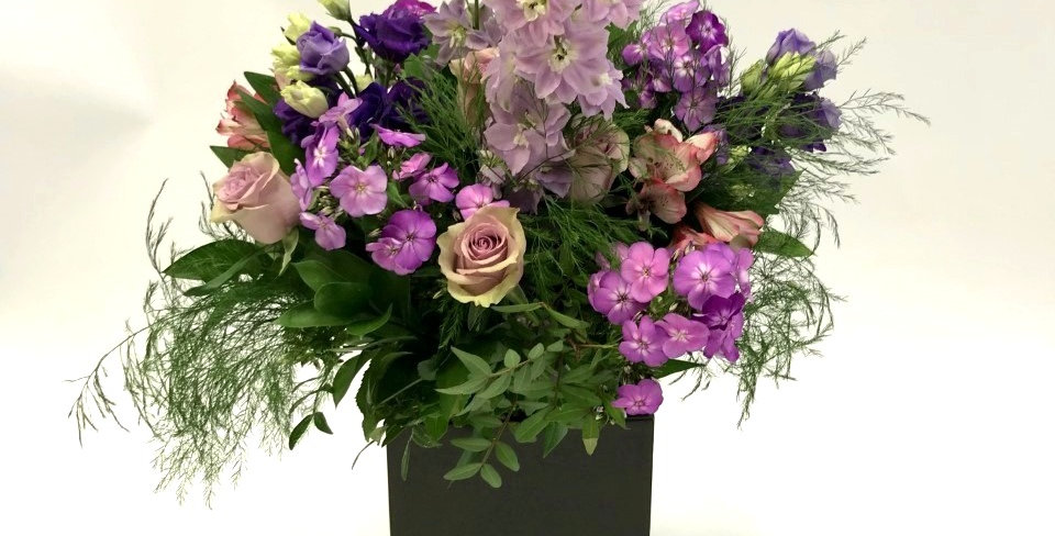 Delphinium and Rose hand-tied